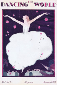 Art deco cover of The Dancing World Magazine, January 1922. Sketch by G. Peres showing a dancer on the stage     Date: 1922