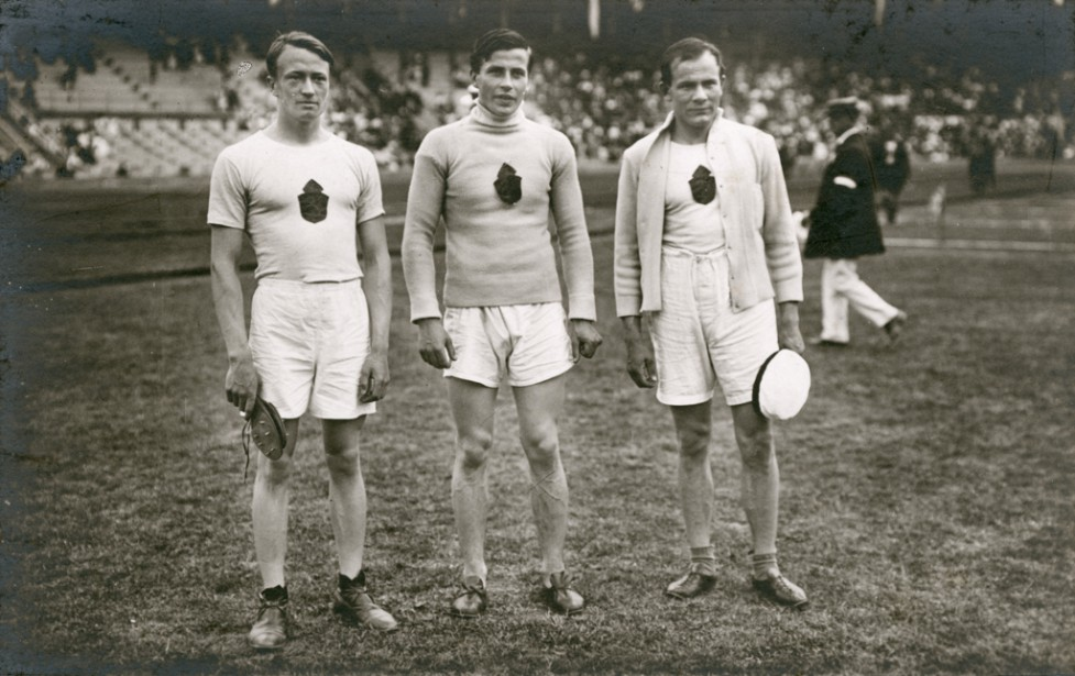 Olympic Games in Stockholm, Sweden, 1912. Sukaniomi, Saaristo, Peltonen, the winner of throwing the javelin .. Date: 1912
