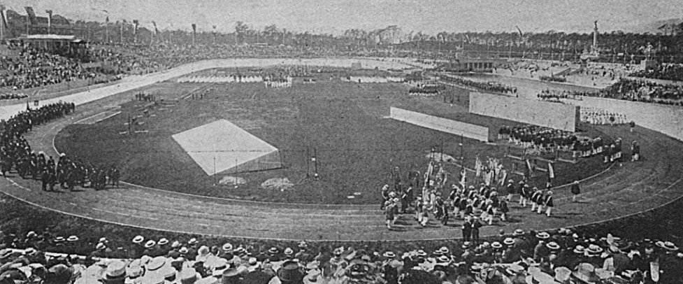 Opening of the stadium in Berlin, Germany, intended as the venue for the 1916 Olympic Games. Due to the First World War, the Games were never held. Date: 1913