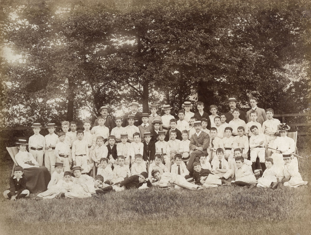 Pupils and teachers at Fretherne House Preparatory School around 1900. From an album owned by Cuthbert Gasemann who is seated 2nd row, third from left. Date: c.1900