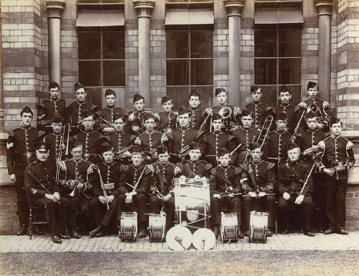 Members of the Officer Training Corps band at Rugby school in 1905. Top right of the picture is Cuthbert Gasemann, who appears to be holding a tenor horn. This photograph is one of a number in an album compiled by him. Date: 1905