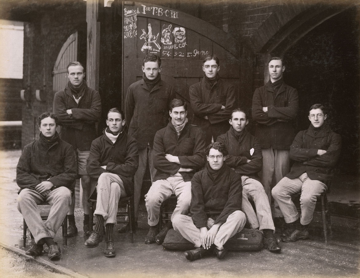Rowing crew from a Cambridge University college, 1911. Date: 1910