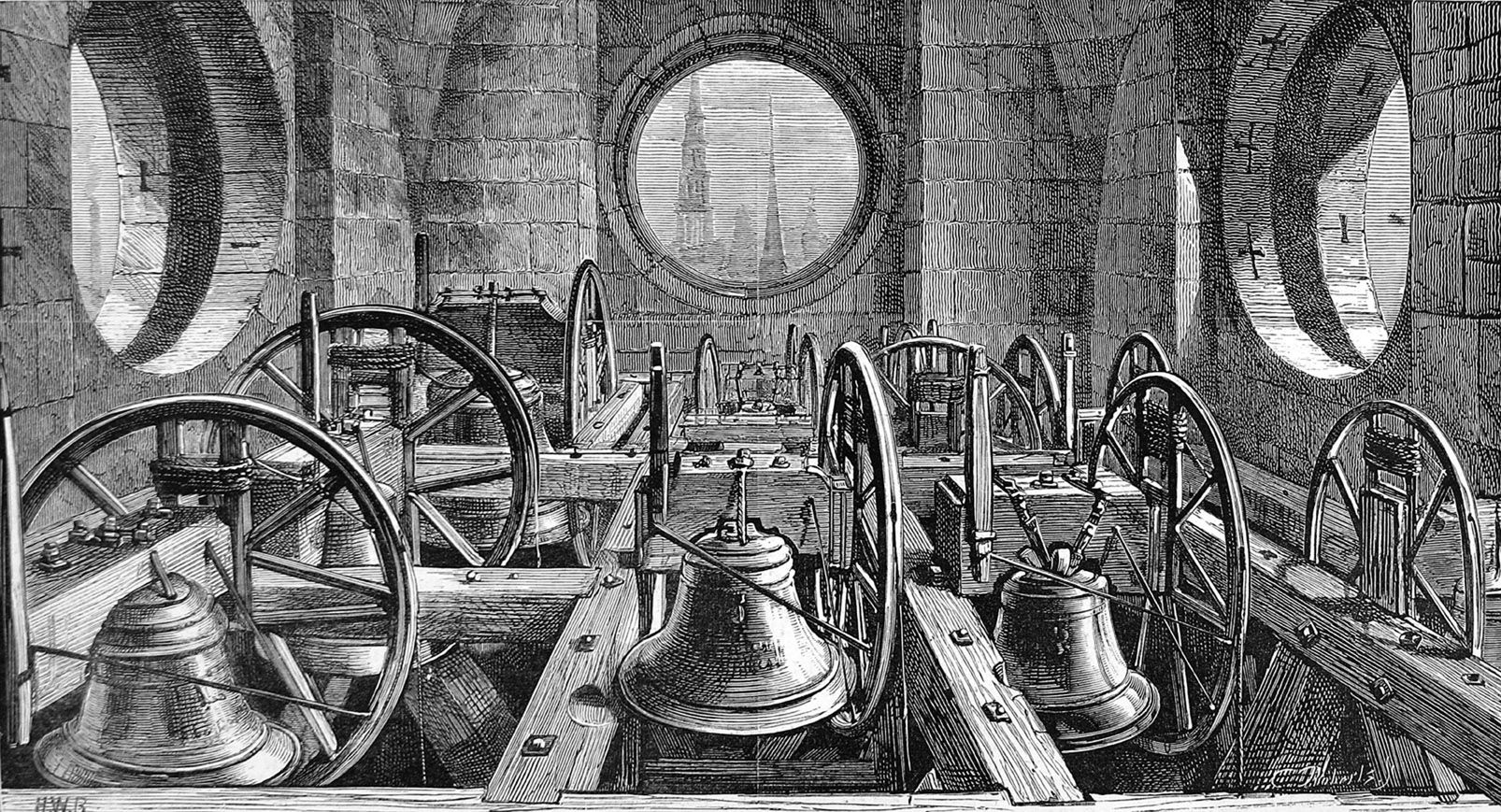 Engraving showing a view of the peal of bells in St.Paul's Cathedral, London, 1878. Date: 12 October 1878