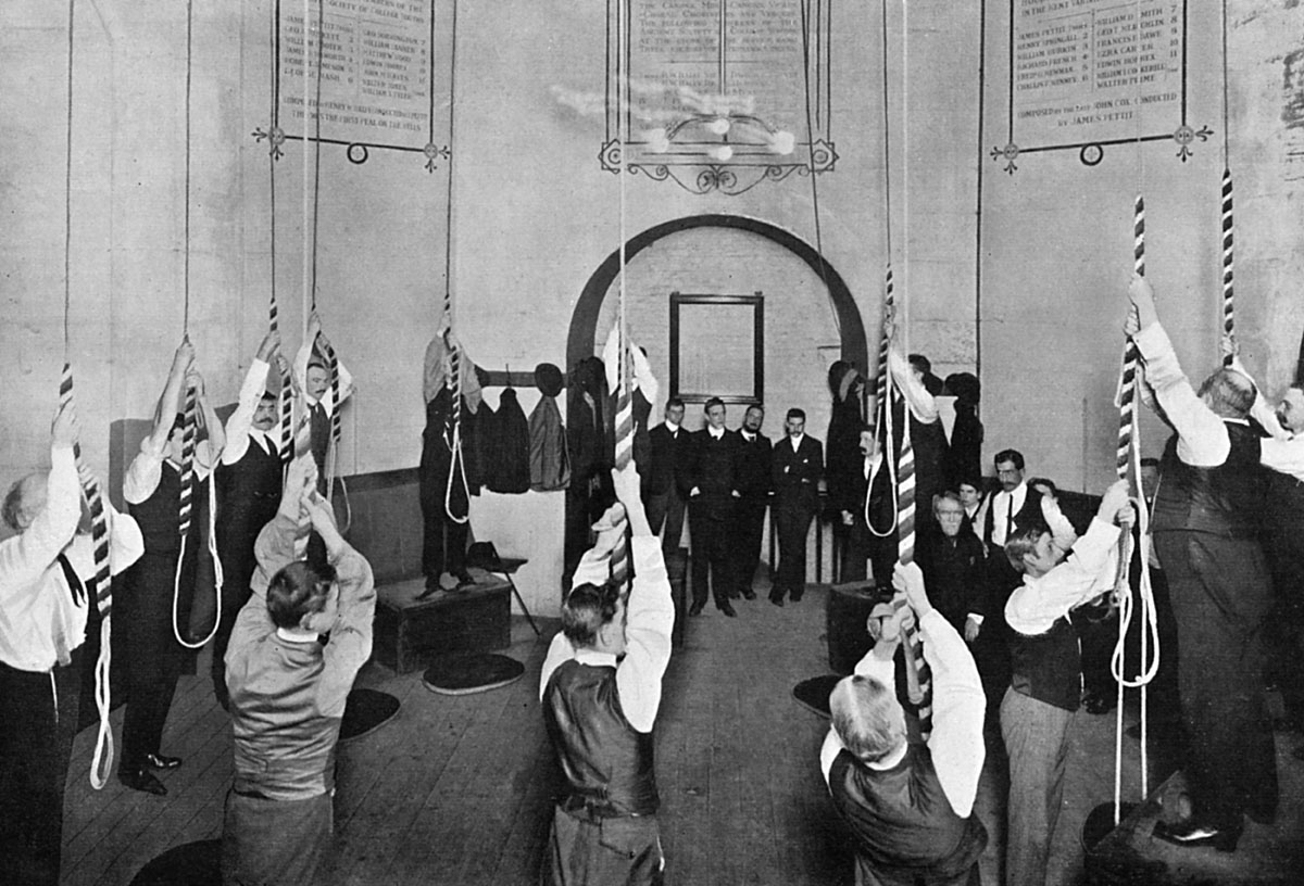 The interior of the ringing chamber at St Paul's Cathedral, London. The twelve bells of the north tower can be seen here, about to be rung by an all male band of ringers. Date: 1903