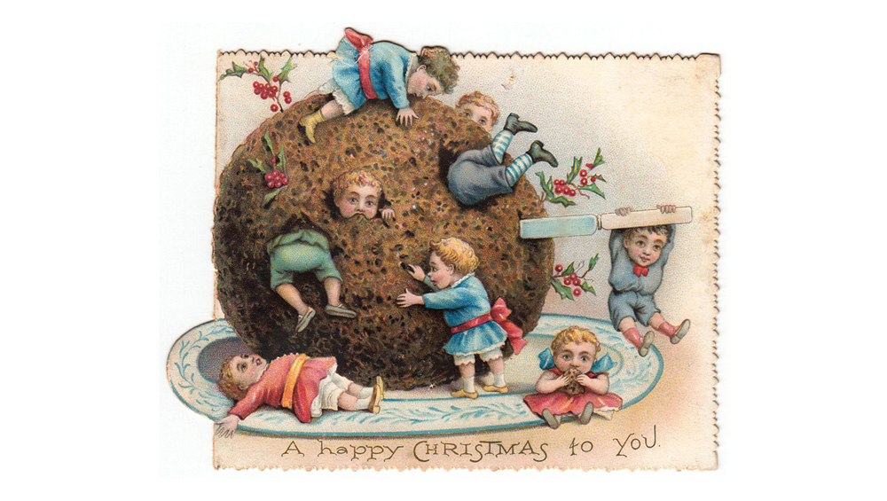 Children attacking a large pudding on a Christmas card. Date: circa 1890s