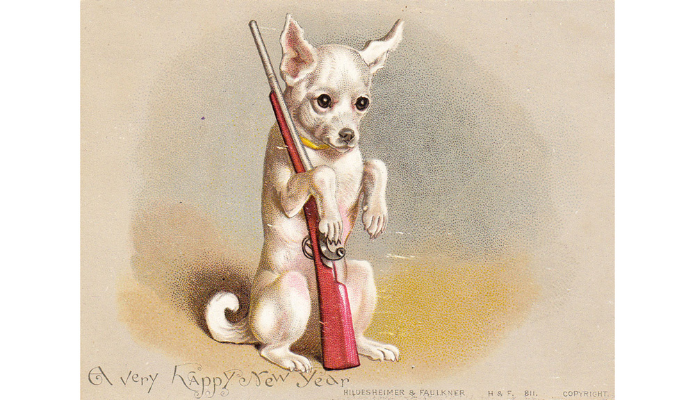 Little dog with a toy gun on a New Year card. circa 1890s