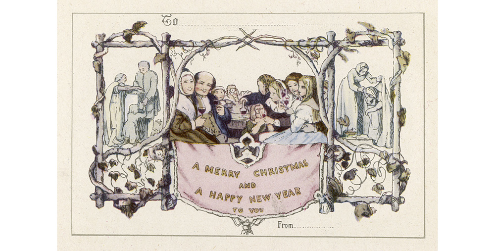 Reputedly the first Christmas card, this was designed by Horsley in 1843, and a coloured version sent out by Sir Henry Cole in 1846 Date: 1843-1846