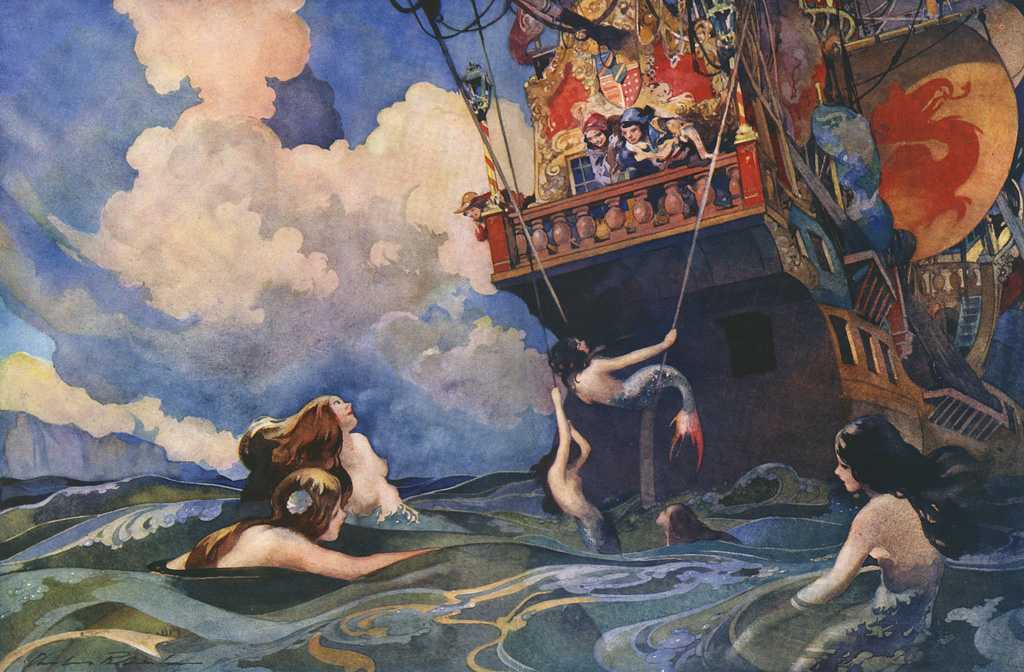 Beautiful illustration by Charles Robinson showiong a sailor and a lady friend peering over the edge of a ship to see a bevy of beautiful mermaids in the sea below. Date: 1939