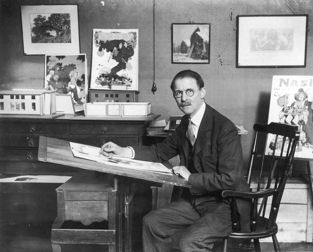 WILLIAM HEATH ROBINSON Artist and illustrator, shown working in his studio. Heath Robinson's prolific career spanned five decades. During this time, he produced countless illustrations for The Sketch and The Bystander as well as other ILN magazines. He is quoted as saying, 'I was fairly launched on my career' of Bruce Ingram's decision to publish his illustrations in The Sketch in March 1906. He is best-known for his ingenious contraptions but his work extended to the themes of golf, cricket, war, gardening and more. Date: 1872 - 1944