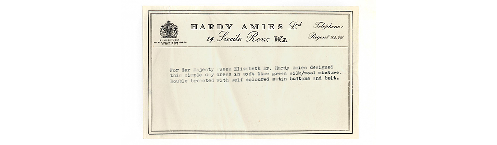 Description of a lime green double breasted day dress designed by Hardy Amies for Queen Elizabeth II. Date: circa 1960s