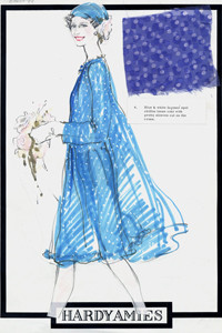Blue and white faconne spot chiffon loose coat with sleeves cut on the cross; matching head scarf with flower detail.  Designed by Hardy Amies for Queen Elizabeth II.      Date:
