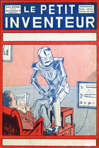 The servant of the future -- a robotic servant polishes a man's shoes while he sits reading in his armchair.      Date: 1929