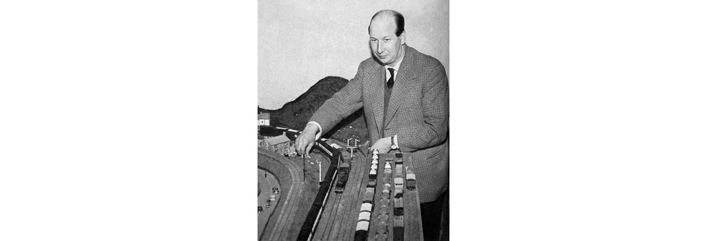 Earl of Lanesborough with his model railway