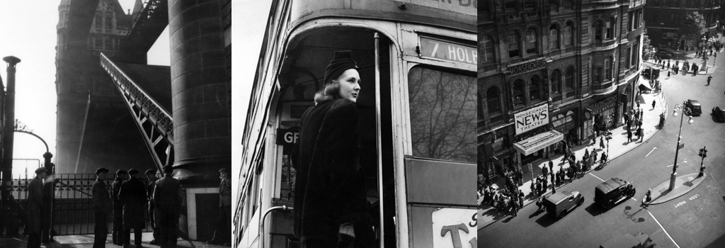 Woman on London routemaster bus, 1940s