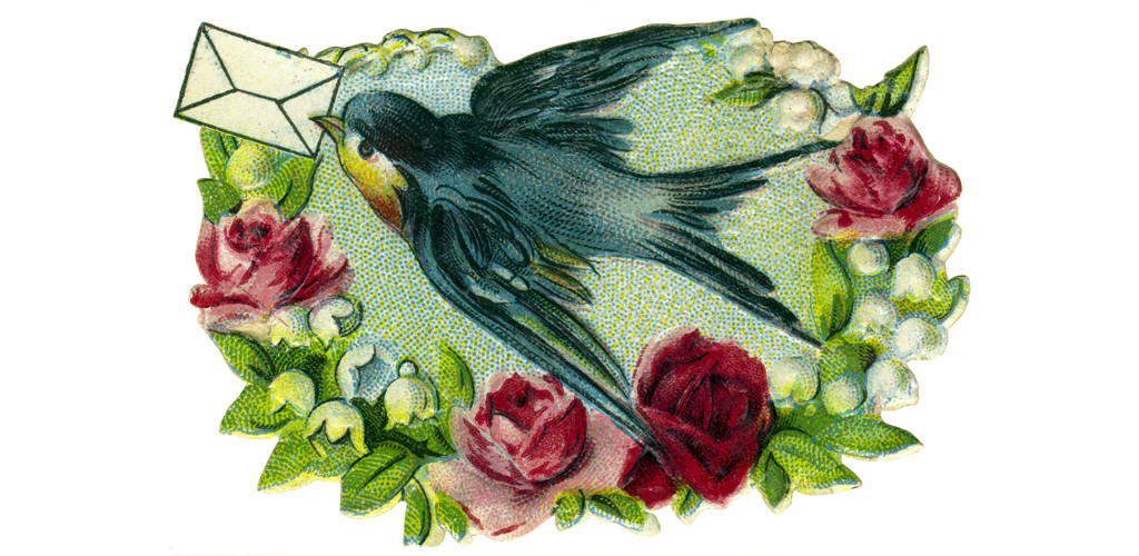 kitsch / souvenir, swallow with loveletter, Germany,