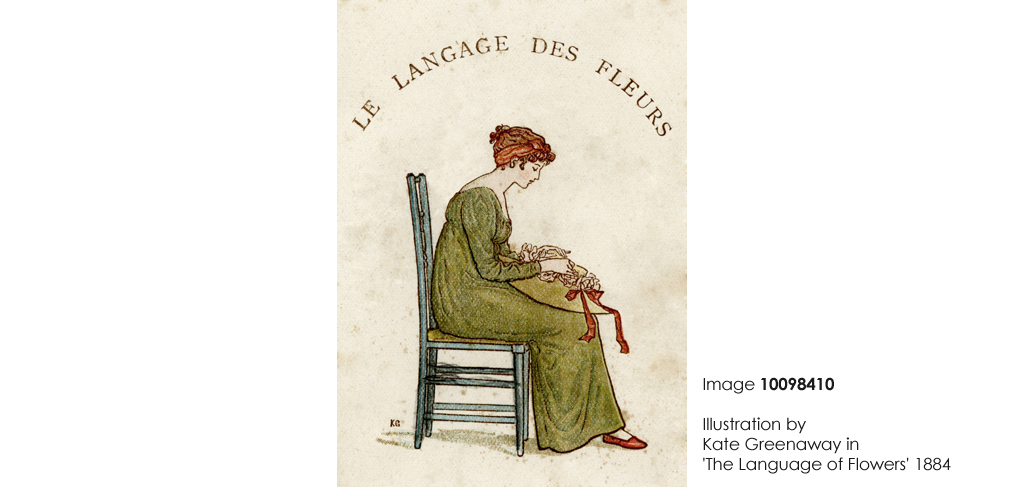 Illustration by Kate Greenaway in 'The Language of Flowers'