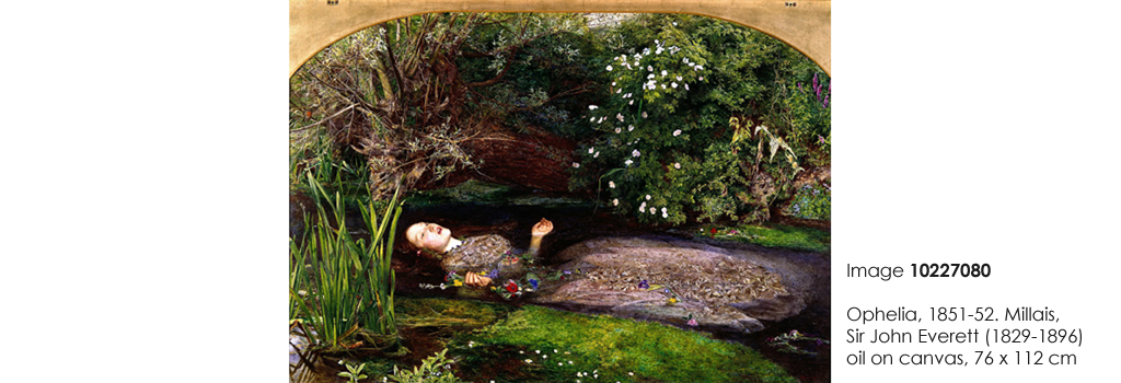 Ophelia, 1851-52. Millais, Sir John Everett (1829-1896), oil on canvas, 76 x 112 cm, Date: 1851-52.