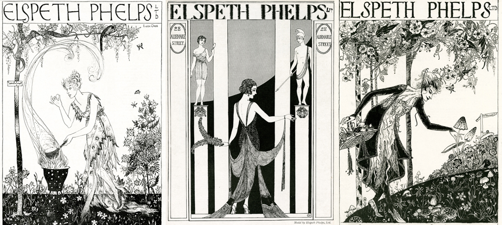 Advertisement for Elspeth Phelps fashion house, one of a series of highly stylised and witty adverts designed by Lady Eileen Orde (daughter of the 4th Duke of Wellington), all featuring upper class characters in various situations wearing a Phelps design. Date: 1920