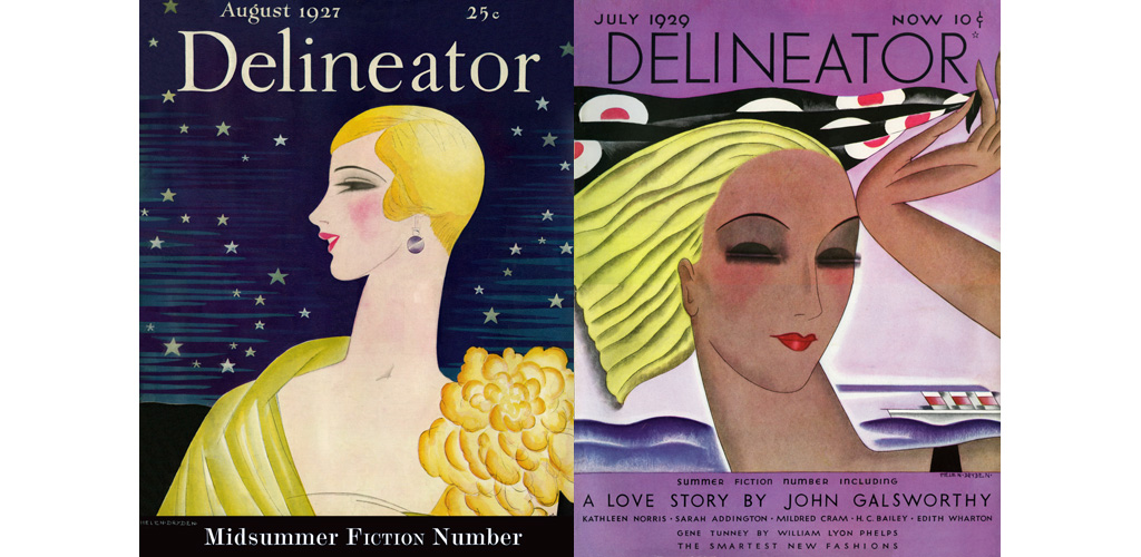 Delineator July 1929 - Cover in Art Deco style depicts a woman by the sea with cruise liner. Date: 1929