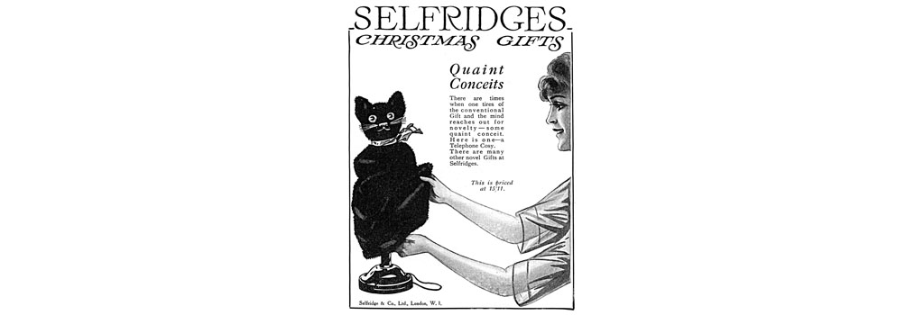 Cat telephone cosy from Selfridges, 1919