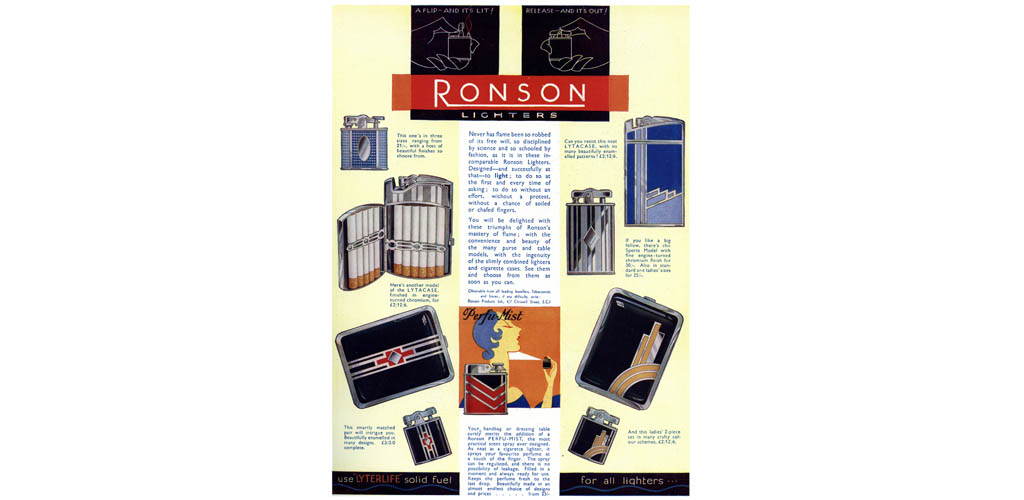 Advertisement for Ronson lighters, 1931