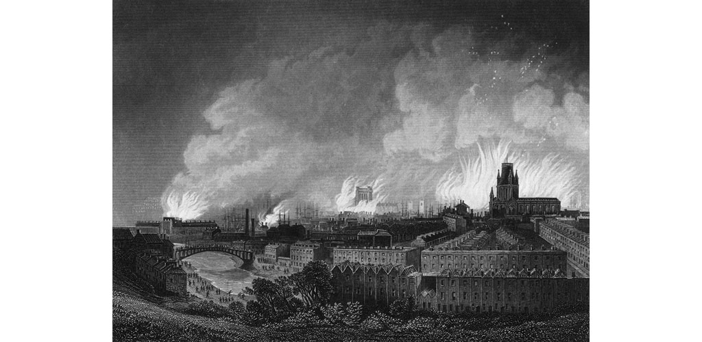 In Bristol, where only 6000 of the 104,000 population had the vote in 1830, a crowd protest against the House of Lords defeat of the Reform Bill by burning 100 houses Date: 31 October 1831