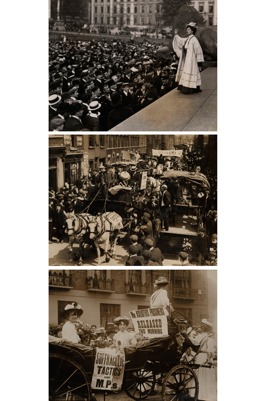 Emmeline Pankhurst speaks in Trafalgar Square, 13th October 1908; suffragette prisoners released from Holloway in a procession of WSPU carts, 31st July 1908; suffragettes Edith New and Mary Leigh in an open carriage after release from prison for breaking windows at 10 Downing Street, 22nd August 1908