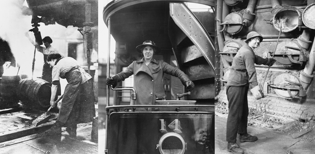 Women working in traditionally male roles during the First World War: cleaning casks at a brewery, driving a tram, and at a gas works