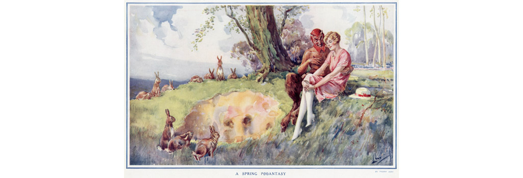 Drawing on a popular theme of the 1920s, a rather sexually rampant looking faun with horns, disturbing red hair and beard and huge hairy legs ending in cloven hooves, sits with a virginal looking blonde girl, her white stockinged legs and pink dress in stark contrast to his virile, hirsuite appearance. Date: 1928