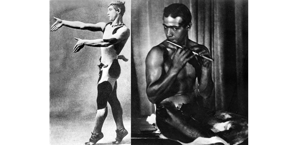 Vaslav Nijinsky, in the title role in AFTERNOON OF A FAUN, 1912. Rudolph Valentino as a faun, 1923