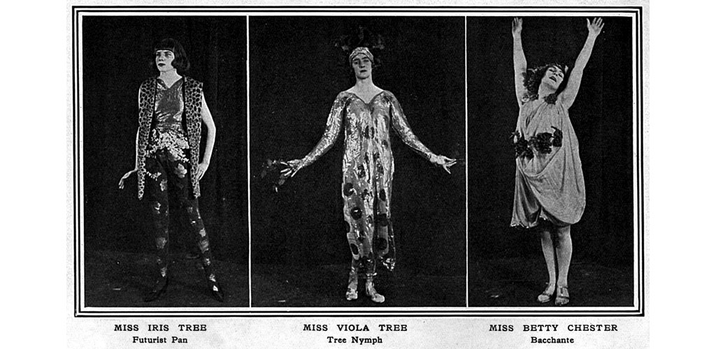 From left, Miss Iris Tree as a futurist Pan, Miss Viola Tree as a tree nymph and Miss Betty Chester as a Bacchante, all guests at the themed 'Pan' Ball held at Covent Garden in aid of Bart's Hospital in January 1920. The theme of Pan was hugely popular during the 1920s and the ball was organised by the newly launched, but fairly short-lived, Pan magazine. Date: 1920
