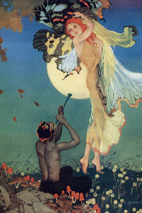 Colour illustration showing a dream-like scene of a piper playing for a beautiful lady with butterfly wings.     Date:
