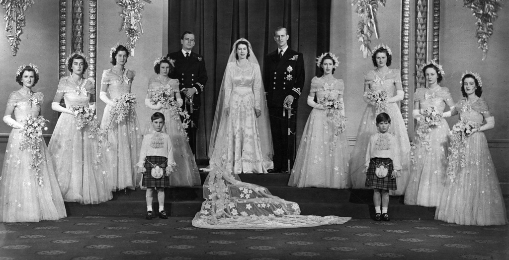 Group photograph following the wedding of Princess Elizabeth and Prince Philip, Duke of Edinburgh showing the newlyweds with their best man, bridesmaids and page boys. Date: 1947