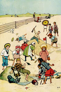 A jolly summer scene by John Hassall featuring children having fun on the beach, digging in the sand, tumbling about and laughing.  1902