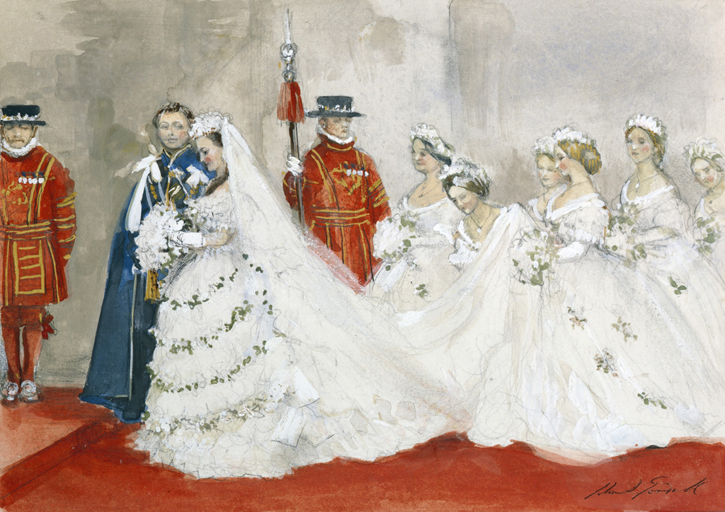 The Wedding' Bride in white with six bridesmaids, Groom in blue military costume, two Beefeaters (Yeomen Warders) standing guard