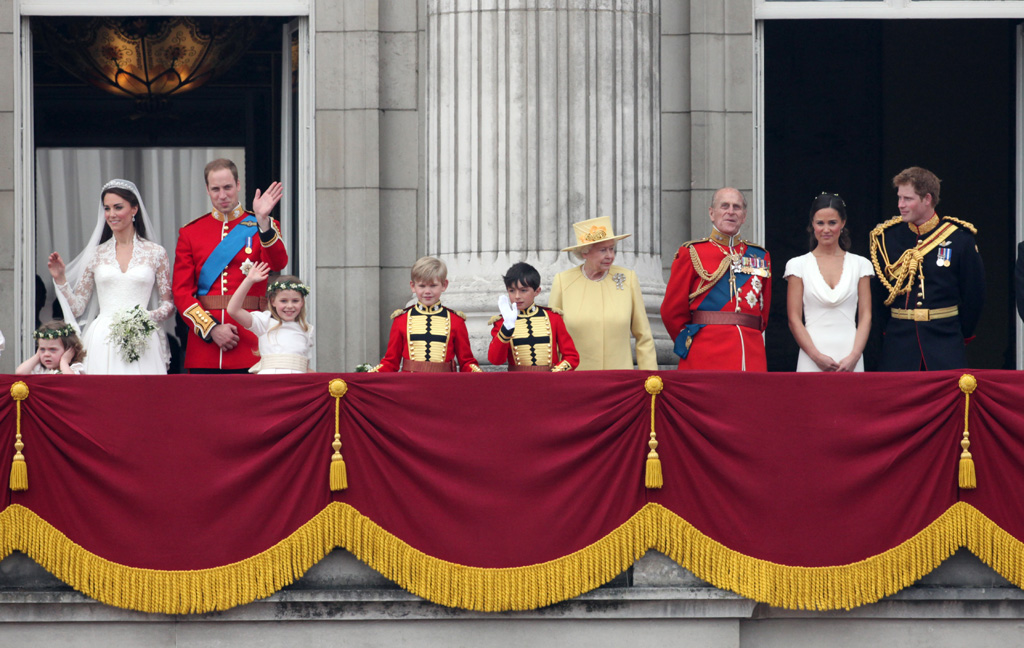 Princess Catherine Middleton and Prince William after their wedding ceremony on the balcony of Buckingham Palace with bridesmaids Grace van Cutsem and Margarita Armstrong-Jones, page boys William Lowther-Pinkerton and Tom Pettifer, Queen Elizabeth II, Prince Philip, Pippa Middleton and Prince Harry. Date: 2011