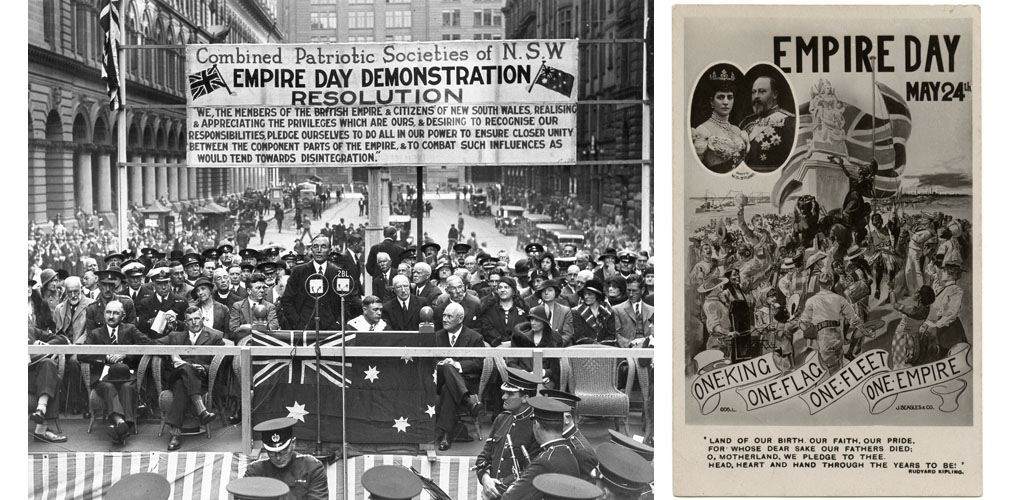 Sir Philip Game during his speech in the Martin Place in Sydney at the celebration of the Empire Day of Combined Patriotic Societies of N.S.W. Next to him in vestment, the Lord Mayor of Sydney, left in the background, the main post office building. Above the people there is a banner with the words 'Empire Day Demonstration'.