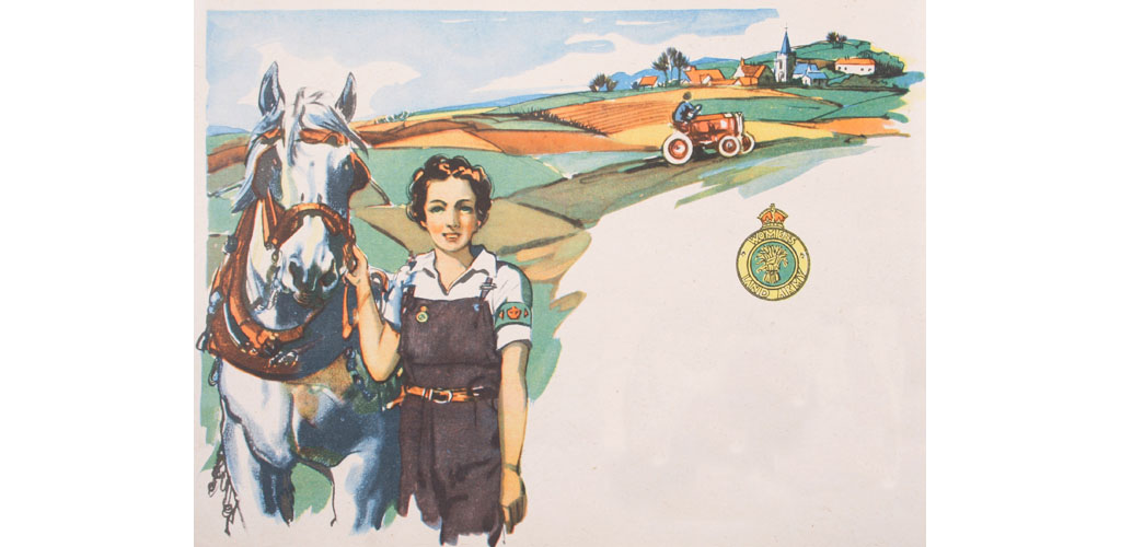 World War Two, 1940s, Women's Land Army, tractor, horse, harness, girl on dungarees, fields, village. .     Date: