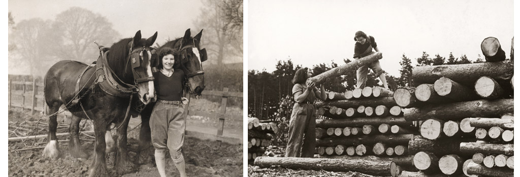 Land Girl, Pauline Bell, who used to be a Civil Service clerk, working with plough horses on a farm during World War II