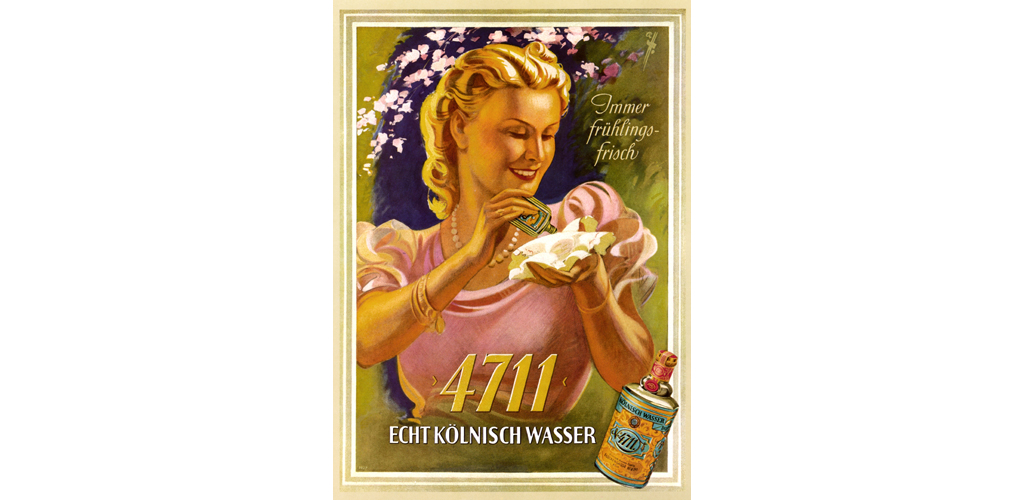 advertising, cosmetics, 4711, real eau-de-cologne, slogan: Immer fruehlingsfrisch (anytime springtime fresh, made by: Ferd. Muelhens, Cologne, Germany, circa 1939, Date: