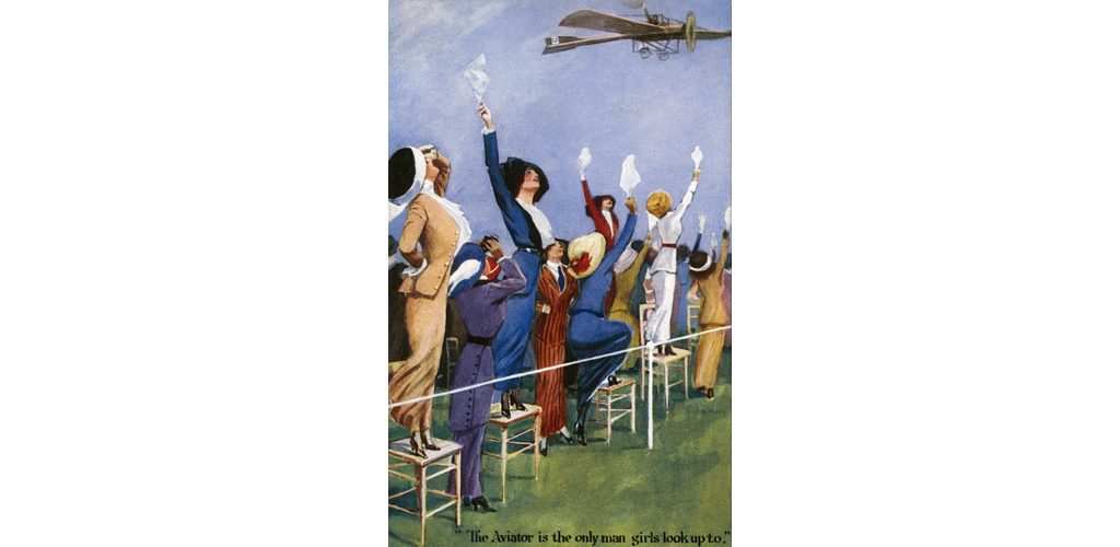 'The Aviator is the only man girls look up to' A very beautifully drawn and interesting postcard, with strong leaning toward the Women's Suffrage movement during this period in the United Kingdom. These strong and confident women see that the only time it is necessary to 'look up' at a man is when he is flying above in an aeroplane. Date: circa 1910