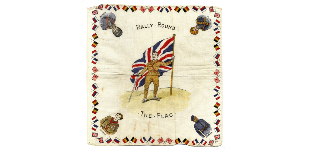 Printed cotton handkerchief. 'Rally round the flag' First world war souvenir. British Tommy with union flag. Surround of flags and allied forces. Zouave. Gurkha. Russian. Sikh. 1918