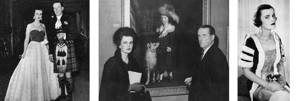 Ian Campbell, 11th Duke of Argyll, together with his third wife, the former Miss Margaret Whigham and Mrs Charles Sweeny, pictured standing by a portrait of Lord John Campbell, later the 7th Duke, which they had lent for a portrait exhibition at the Royal Academy in 1956. The Duchess was a scion of society, worshipped by the press in her youth, but the scandalous 1963 divorce case between the Duke and Duchess featuring the notorious 'headless man' photographs, ruined her reputation and plunged her into lifelong penury. Date: 1956
