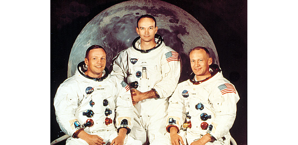 APOLLO 11 CREW, NEIL ARMSTRONG, MICHAEL COLLINS, EDWIN (BUZZ) ALDRIN, prior to their mission to the moon, July 1969.