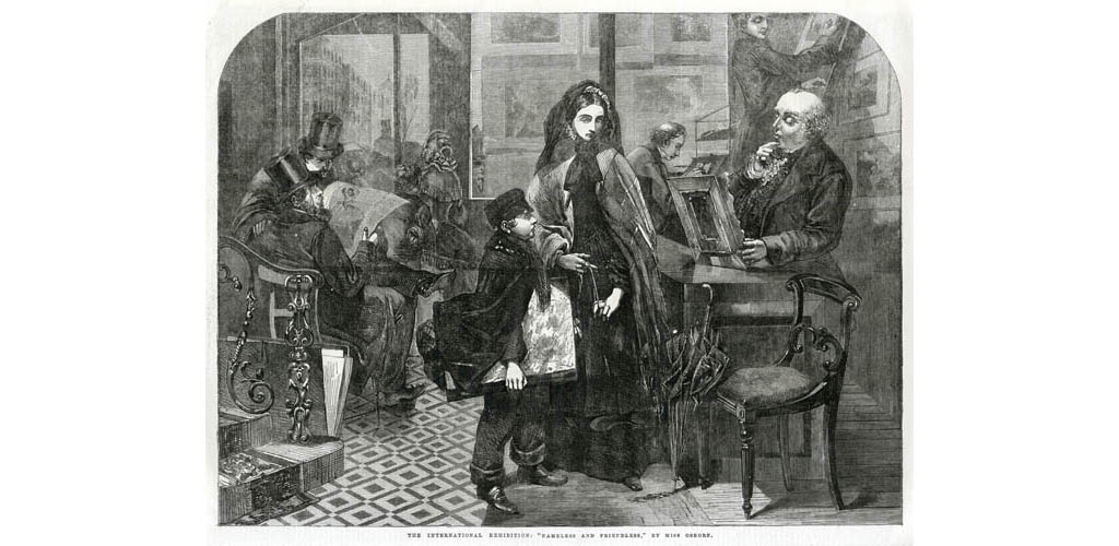 Engraving after the painting by Emily Mary Osborn, which was exhibited at the Royal Academy in 1857 and subsequently at the 1862 International Exhibition. A young woman, recently bereaved, visits an art dealer in order to sell a painting. The picture conveyed the isolation felt by women artists at the time in the male-dominated world of art. Date: 1862