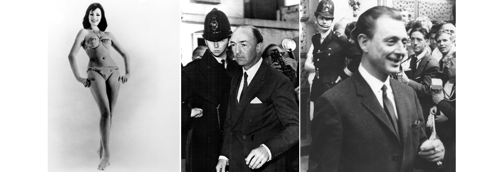 (left) Christine Keeler, early 1960s. (centre) British Minister of War John Profumo retuns home after admitting an affair with Christine Keeler, June 18, 1963. (right) Stephen Thomas Ward (1912-1963), the high society osteopath who introduced Christine Keeler to John Profumo, 1963.