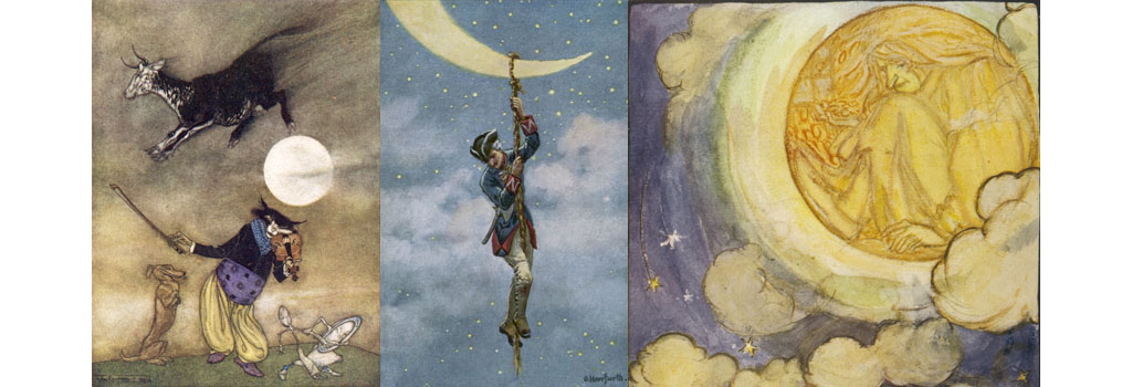 (left) The artist has got cow, cat, fiddle, dish, spoon and dog into his picture, but the connection between them remains obscure. (centre) Baron Munchhausen climbs to the Moon. Date: First published: 1785 (right) 'So here in the misty moon I pine As long as the fairy wills.'