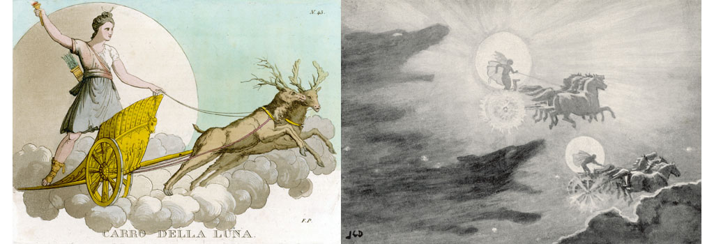 (left) Luna crossing the night sky in her deer-drawn chariot. (right) The wolves Skoll (repulsion) and Hati (hate) pursue Sol (sun) and Mani (moon) across the skies; if they should catch them, the world will be plunged again into darkness.