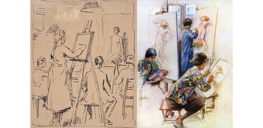 The Art Class. Sullivan, Edmund Joseph 1869 - 1933. Date: