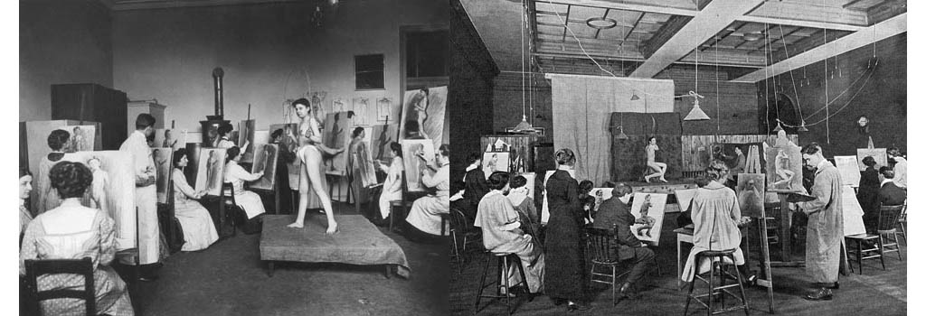 The women's class in an art school in Schwabing while Nude drawing, probably in the women's academy in Barer Street 21.